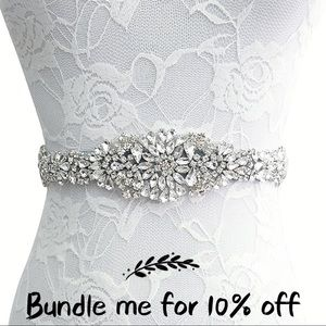 Accessories - ⚪️⚫️Bridal Rhinestone Ribbon Belt, White & Black